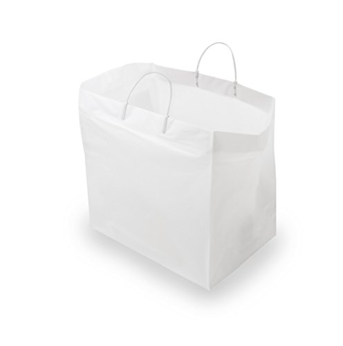 - 14x10x14.75 200 Pcs. Thick White Plastic Shopping Bags with Handles & Cardboard Bottom, Merchandise Bags, Food Service Bags, Take Out Bags, Gift Bags Bulk