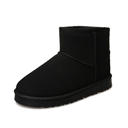 Womens Winter Boots, Egmy Fashion Flat Lace Up Fur Lined Winter Martin Boots Snow Ankle Boots Shoes Black