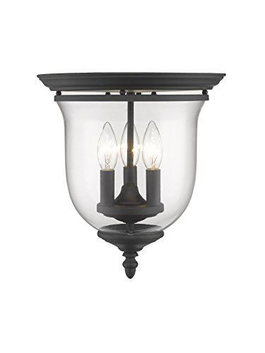 Legacy Ceiling Flush - Livex Lighting 5021-04 Legacy 3-Light Ceiling Mount, Black