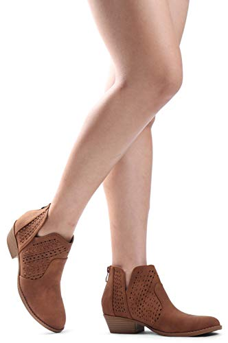Bootie Stacked Boots Laser Chunky Side Zipper Pu Tan Cut Back Ankle Low Heel Cut LUSTHAVE Perforated Out V HzxnWZxgI