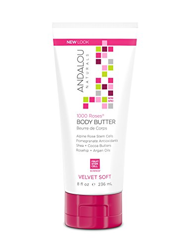 Andalou Naturals 1000 Roses Velvet Soft Body Butter, 8 oz., for Sensitive, Dry, Delicate or Easily Irritated Skin, Soothes & Calms Rose Body Cream