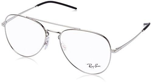 Ray-Ban RX6413 Aviator Metal Eyeglass Frames, Silver/Demo Lens, 56 ()