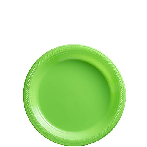 Amscan Kiwi Green Plastic Plate Big Party Pack, 50 Ct. (Tableware Solid Color Plates)