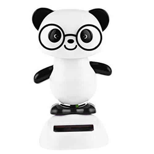Firefly-Mua Solar Car Shaking Head Doll, Cartoon Bobblehead Figures Car Ornaments Desk Decor-Panda