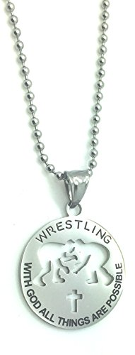 """Christian Stainless Steel Sport Medal Necklace - Chain Included """"with God all things are possible"""" Christian Sport Medal (Wrestling)"""