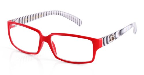 Newbee Fashion - IG Unisex Black & White Striped Transparent Temple Retangle Frame Clear Lens Eye - Eyeglass Plastic Frames Red