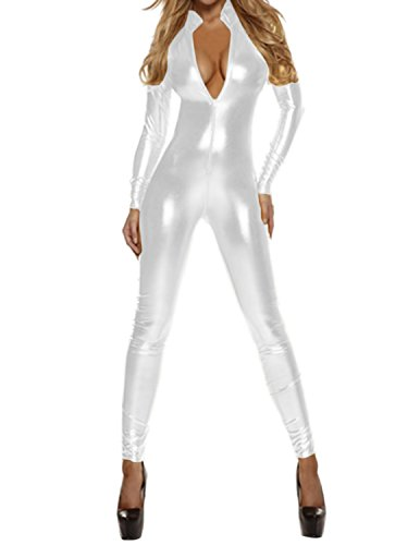Quesera Women's Sexy Catsuit Long Sleeve One Piece Stretchy Metallic Full Bodysuit, White, (White Bodysuit Costume)