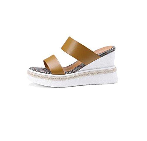 imperméable Brown d'été coin solide pantoufles paille talon simple forme sandales plate sandales Mesdames extérieure couleur HZgUvqw
