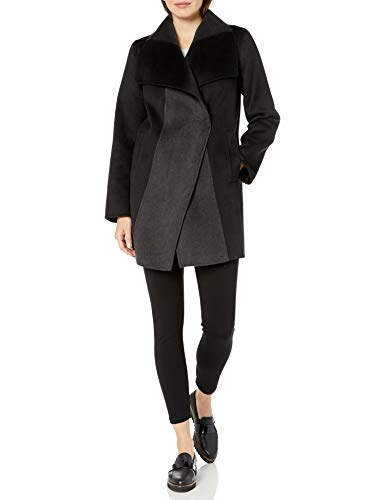 T Tahari Women's Double face Wool Coat with Color Contrast, Black/Deep Charcoal, Medium