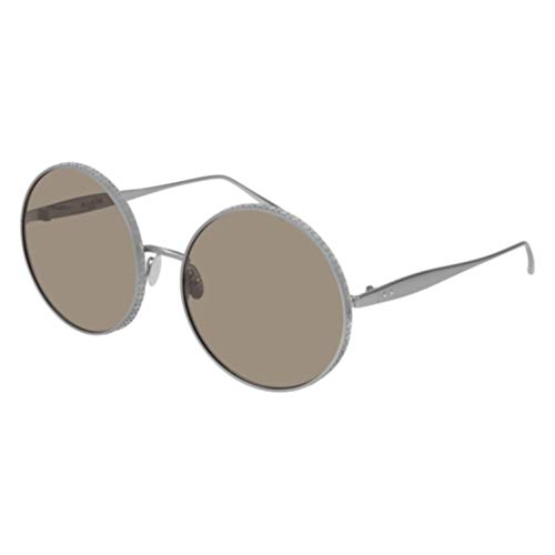 ALAÏA AA 0015S 002 Ruthenium Metal Round Sunglasses Brown Lens