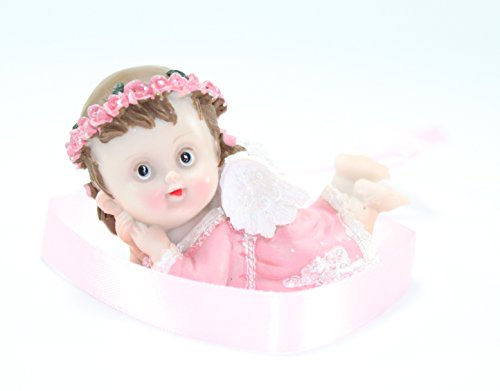 Blessing Guardian Angel Cherub Figurine Religious Baptism Party Baby Shower Cake Top Gift (Pink Crawling Girl)
