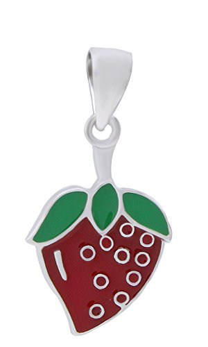AFFY Jewelry Red Enamel Strawberry Charm Pendant Necklace 925 Sterling Silver