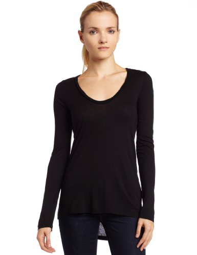 Splendid Women's Light Jersey Long Sleeve Scoop Neck Tee Black, X-Small