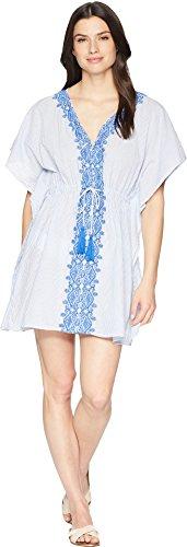 (Lauren Ralph Lauren Women's Emroidered Yarn-Dye Stripes Tunic Cover-Up Blue)