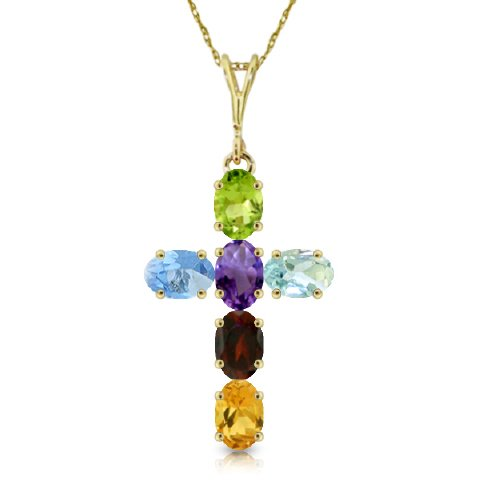14K Yellow Gold Cross Necklace with Natural oval-shaped Multi-gemstones -