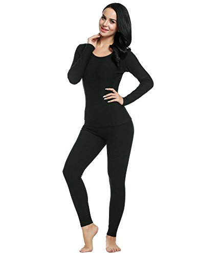 Ekouaer Women's Thermal Wear Winter Long Johns Pajama Set Sleepwear Plus Size(Black,Large)