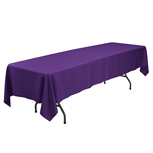 (VEEYOO Rectangular Tablecloth 60 x 126 inch - Solid Polyester Table Cover for Wedding Restaurant Party Banquet, Purple Table Cloth)