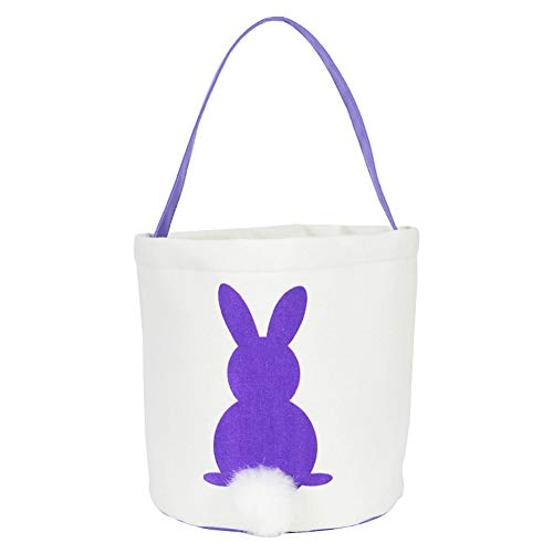 (Finerplan 1 Pcs Bag Handbag Rabbit Bunny Easter Candy Snack Basket Cookies Pocket Kids Gift)