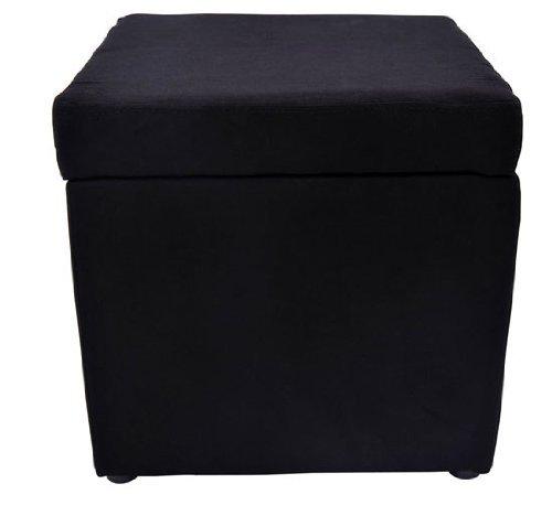 31F7MXzXm5L - HomCom-Square-Microfiber-Storage-Ottoman-Black