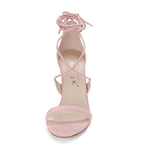 Light Stiletto Sandals up Allegra K Lace Heel Pink Women 0YYRZqE