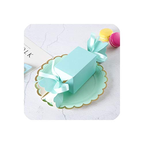 50 Pcs Gift Box Candy Babyshower Wedding Party Favors Cardboard Boxes Solid Paper Bonbonniere Sugar Dragees Sweets Box Birthday,Blue,6X6X10 cm]()
