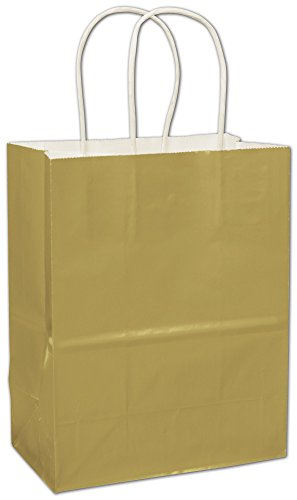 Solid Color Pattern Shopping Bags - Metallic Gold High Gloss Paper Shoppers (250 Bags) - BOWS-264-080409-15