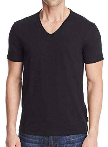 John Varvatos Star USA Men's Short Sleeve SLUB V-Neck with Cut RAW Edge, Black, L