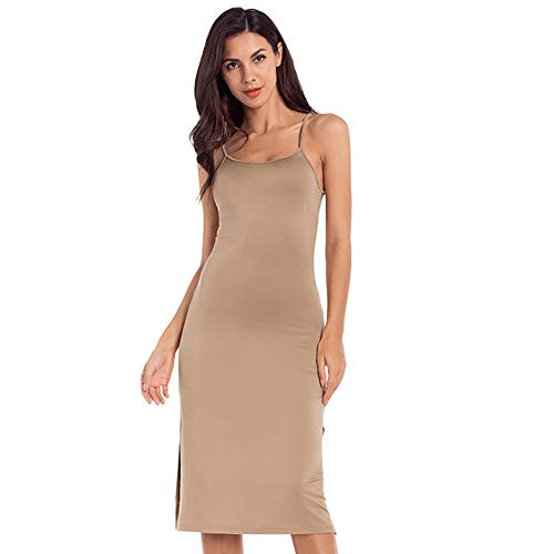MANCYFIT Full Slip Dress for Women Spaghetti Strap Under Cami Slit Soft Sleeveless Nightgowns Khaki Large