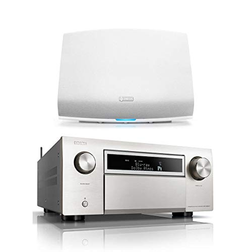 Denon AVR-X8500H 13.2 Channel Home Theater Receiver (Silver) wtih HEOS 5 Wireless Streaming Speaker - Series 2 (White)