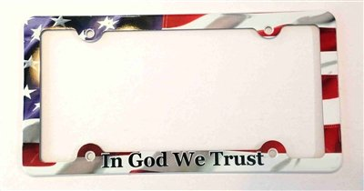 Americana Plate (In God We Trust License Plate Frame, American Flag Decorative License Plate Holder, Americana Car Tag Frame)