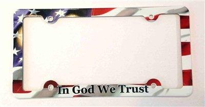 Americana Plate (In God We Trust License Plate Frame, American Flag Decorative License Plate Holder, Americana Car Tag Frame)