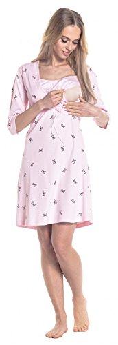 Happy Mama. Para Mujer Camisón Estampado Premamá de Embarazo Lactancia. 244p Polvo de Color Rosa