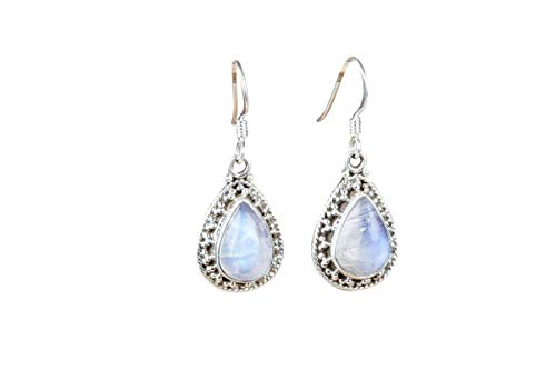 Rainbow Moonstone Earring.925 Sterling Silver Earring.Pear Shape Moonstone Jewelry.Natural Blue Flashy Gemstone.Teardrop Earrings.New & Latest Style Earrings.Valentine Day Gift.Beautiful