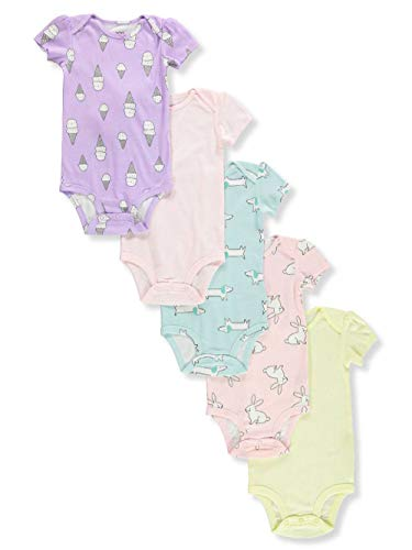Carter's Baby Girls 5 Pack Bodysuit Set, Ice Cream/Animals, 3 Months ()