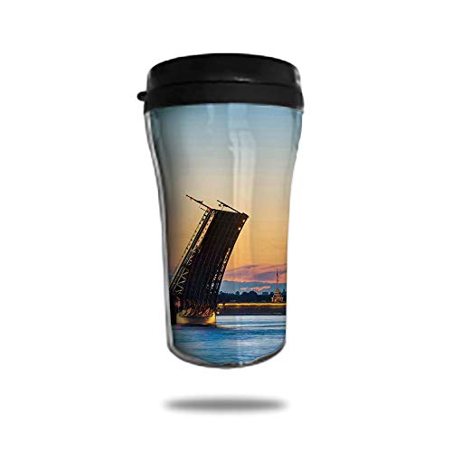 Travel Coffee Mug 3D Printed Portable Vacuum Cup,Insulated Tea Cup Water Bottle Tumblers for Drinking with Lid 8.45 OZ(250 ml)by,Landscape,Palace Bridge with Peter and Paul Fortress St Petersburg Whit (Printed Paul)