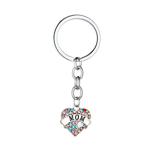 (Keychains Bulk Family Key Ring Love Heart Pendant Daughter Sister Mom Aunt Gift for Mother's Day Thanksgiving Christmas(Color mom))