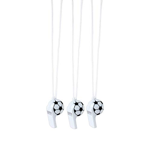 Fun Express Soccer Ball Shaped Whistle | 12 Count | Great for Party Favors, Sports-Themed Event, Game Day Handouts, Referee, Varsity Player, Football]()