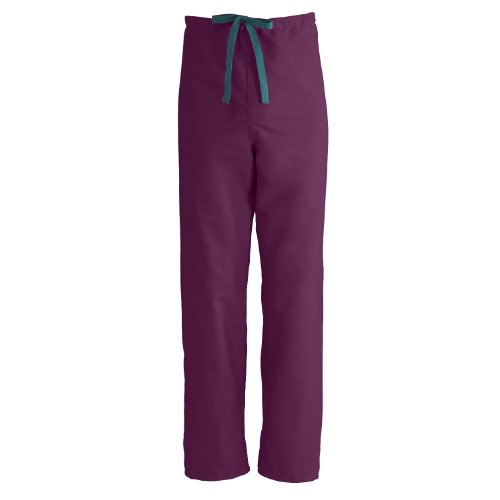 Medline 900JWNS-CM ComfortEase Reversible Scrub Pants with Drawstring, Unisex, Small, Wine -