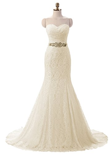 Lily Wedding Womens Lace Mermaid Wedding Dresses for Bride 2018 Long Formal Prom Bridal Ball Gowns FWD001 Size 2 Champagne by Lily Wedding