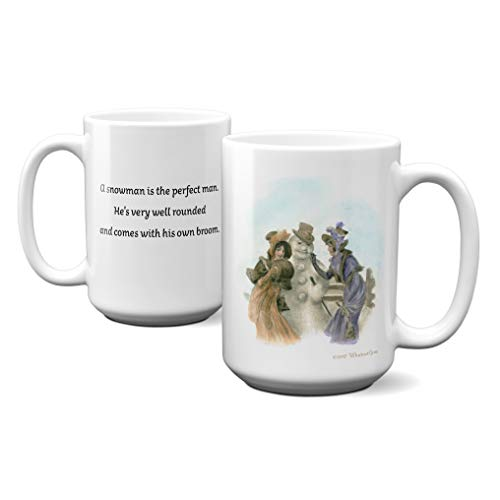 - WhatnotGems Vintage Holiday Card Snowman is the Perfect Man, 2 Women Mug (White, 15 ounces)
