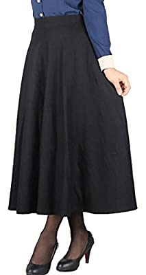 Cruiize Women's Wool Blend Plaid Flared Skirt Winter Fall Long Midi Skirt