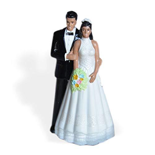 (Vintage Style Bride and Groom Wedding Cake Topper Dark Skin Black Hair)