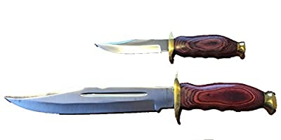 "2 Piece Hunting Knife Set Pakkawood Handle Leather Sheath (Small-8'') (Large-14"")"