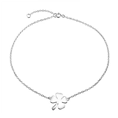 new Bling Jewelry Lucky Four Leaf Clover Sterling Silver Shamrock Anklet 10in