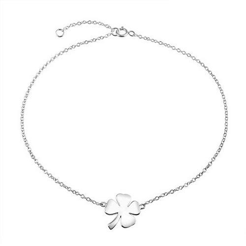 4 Leaf Clover Shamrock Flower Shape Anklet Lucky Charm Anklet Link Ankle Bracelet For Women Sterling Silver 9-10In