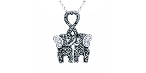 Black and White Natural Diamond Kissing Elephants Pendant Necklace in 925 Sterling Silver (1/4 Ct)