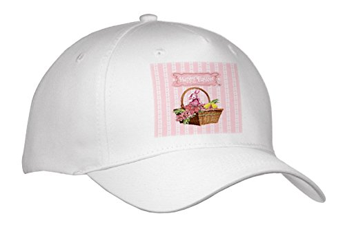 3dRose Beverly Turner Easter Design and Photography - Bunny Rabbit and Chicks In Basket Of Pink Flowers, Happy Easter - Caps - Adult Baseball Cap (Cap_272699_1)