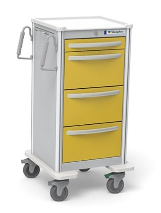 - MSEC by Waterloo, 4 Drawer Slim Extra Tall Aluminum, Isolation Cart, Gray