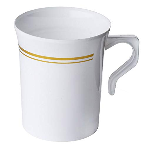 50 Pack Heavyweight Disposable White Plastic 8 oz. Coffee Mugs with Gold Trim | Tea, Cappuccino, Espresso Cups with Handles