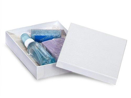 7x5x1-1/4'' White Swirl Jewelry Box w/ non-tarnish Cotton (Unit Pack - 100)